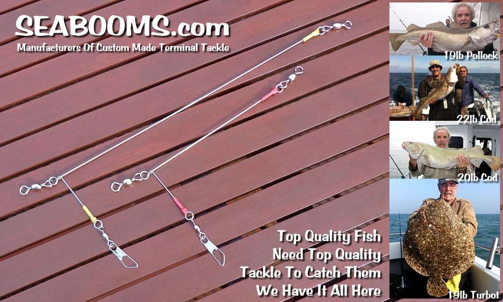 Sea booms for all types of sea fishing, wreck and reef fishing beach and boat angling